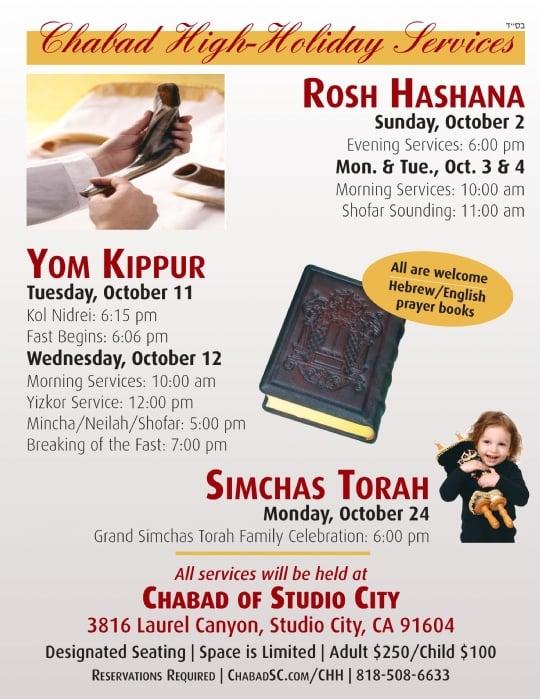 Flyer/Schedule PDF - Chabad Jewish Center of Studio City