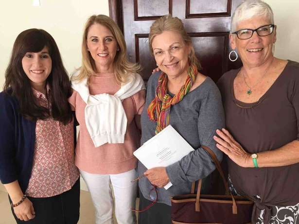 "Hindel Levitin, Penny Beers, Roz Pomerance and Carol Rasowsky attend a Palm Beach Rosh Chodesh Society Art & Soul class on May 9, ""Cuisine: The Art of Self-Transformation."" Courtesy of Chabad of Northern Palm Beach Island"