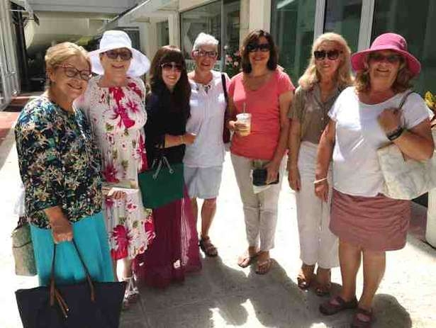 "From left, Roz Pomerance, Debbie Stahl, Hindel Levitin, Carol Rasowsky, Diana Strauss, Sara Simovich and Cookie Gottlieb, take part in at Monday's Caffeine for the Soul class July 18 at The Esplanade. ""The women enjoy an hour of Torah study, collecting 'Torah endorphins,' with other Jewish women and study the Parsha from a fresh Chassidic perspective with Rebbetzin Hindel Levitin,"" says Rabbi Zalman Levitin of Chabad of Northern Palm Beach Island. Courtesy of Chabad of Northern Palm Beach Island"
