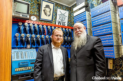 Halberstam with Rabbi Mendel Eisenbach, who now helps run the center. (Photo: Eliyahu Yosef Parypa/Chabad.org)