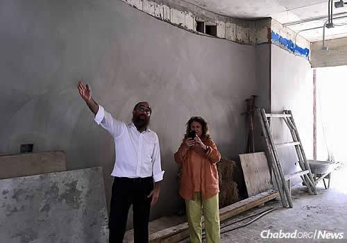 Rabbi Mendel Zarchi, director of Chabad Lubavitch of Puerto Rico, displays the space while under construction.