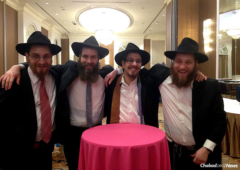 The four Schmidt brothers, from left: Shmueli, Benny, Laible and Yossi, the sons of Chabad-Lubavitch emissaries Rabbi Menachem and Chava Schmidt, co-directors of Lubavitch House of Philadelphia.