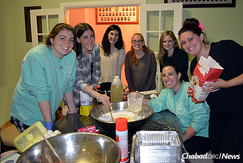 Challah-making is a popular activity on campus, a skill that emissaries hope women take with them when they leave college and eventually start families of their own. (Photo: Chabad on Campus International)