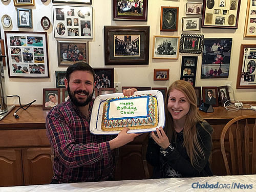 Chatham graduate student Rachel Skupsky and her fiance, Chaim Marks, celebrate his birthday at the Chabad House. Rachel has since graduated, and the couple has married.