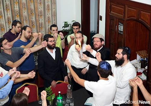 Joining in the Havdalah ceremony