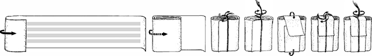 Fig. 45: One of the four scrolls of the head-tefillin is prepared for insertion. (See footnote 223.)