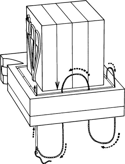 Fig. 48: Stitching the head-tefillin closed. (See footnote 241.)