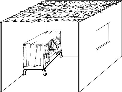 Fig. 7:The frame (kinof) of this canopy bed is described in sec. 627:4.