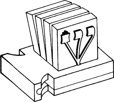 Fig. 41: Before the four compartments of the head-tefillin are pressed together to form a cube, they are visibly separate down to the base.