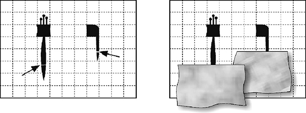 Fig. 29: Covering the part of a straight letter that was severed by a scratch.