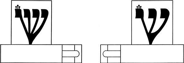 """Fig. 42: The letter shin in this diagram is shaped according to Ksav HaAriZal (""""the script of R. Yitzchak Luria"""")."""