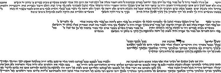 """Fig. 14: These four passages for the head-tefillin were written by one of the expert contemporary exponents of """"the Alter Rebbe's script."""" Nevertheless, this illustration is not intended as a definitive guide to lettering, spacing, indentations and the like."""