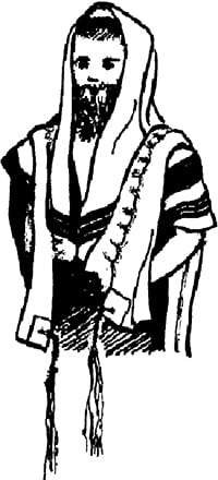 Fig. 1: The tallis gadol as worn. (See sec. 8:1-8 and 11:34.)