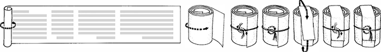 Fig. 46: The long scroll of the arm-tefillin is prepared for insertion. (See footnote 223.)
