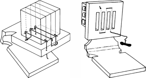 Fig. 47: The sinew that separates the compartments of the head-tefillin is threaded through the upper part of its base both horizontally and vertically. (See footnote 229.)