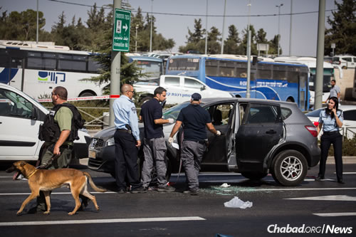 Police investigate the car of a woman killed by a terrorist in a series of drive-by shootings on Haim Bar-Lev Street in Jerusalem. (Photo: Hadas Parush/Flash90)