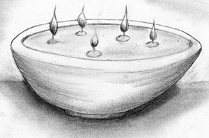 Fig. 19: An Oil Lamp with Many Wicks