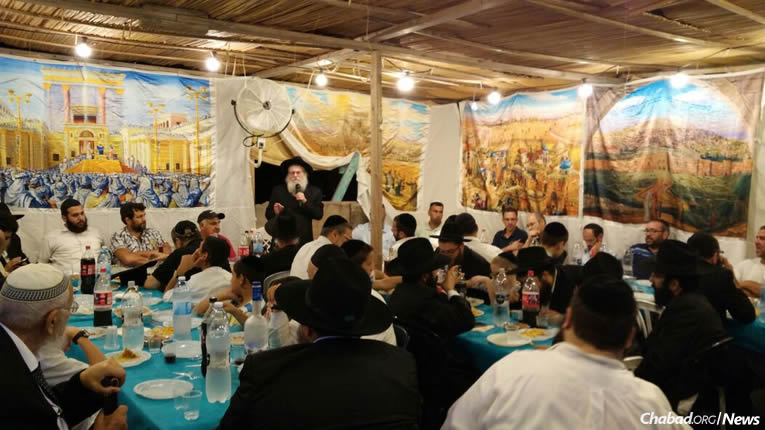 Around the world this Shabbat, people will celebrate the completion of the 35th cycle of study of Maimonides' Mishneh Torah in sukkahs, like this one at Thursday's gathering, pictured above at Chabad of Ashkelon, Israel.