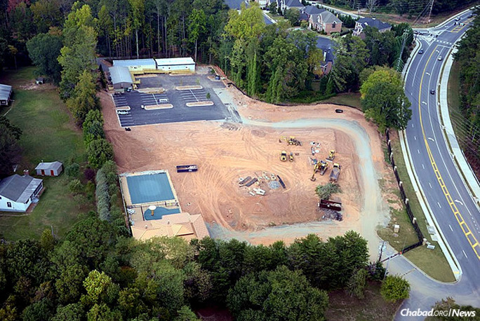 "An aerial view of the new facility for Chabad of North Fulton in Alpharetta, Ga. It is named ""Rashi's Campus"" in memory of Rashi Minkowicz, who passed away suddenly in March 2014."