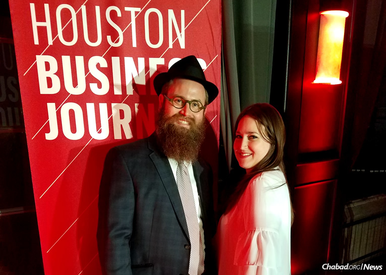 """Rabbi Mendy Traxler, pictured with his wife, Rachel, was named to the 2016 """"40 Under 40"""" list issued by the """"Houston Business Journal."""""""