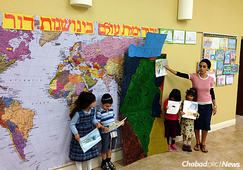 Young children take pride in a 2015 project on Israel, led by Morah Sivan.