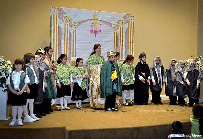 Students at the Maimonides Hebrew Day School in Fort Myers, Fla., participate in a play. The Torah day school was founded by Rabbi Yitzchok and Nechama Dina (Nechamie) Minkowicz, co-directors of Chabad Lubavitch of Southwest Florida.