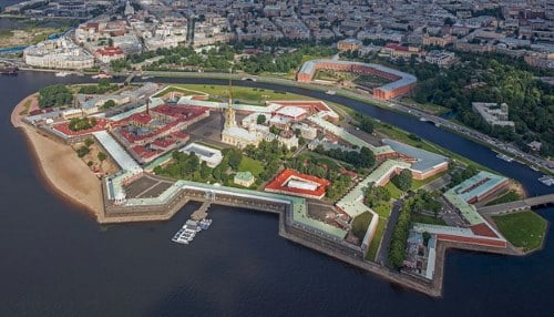 Aerial view of the Peter and Paul Fortress, which served from around 1720 as a prison for high-ranking and political prisoners. Today it is an important part of the State Museum of Saint Petersburg History.