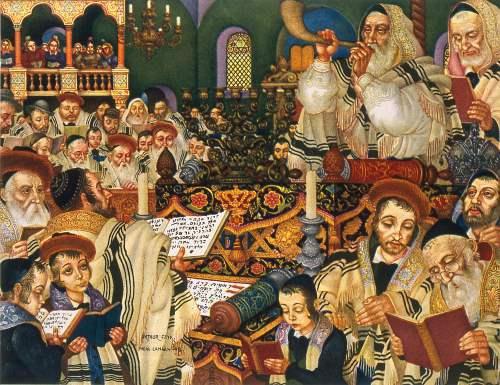 """""""תפילות ראש השנה"""". ציור: ארתור שיק"""