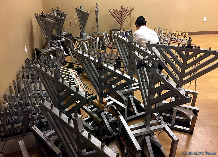 Getting ready for the Festival of Lights: The excitement is palpable as students from Lubavitch Yeshiva-Zekelman Campus in Oak Park, Mich., add menorahs, candles and Chanukah kits to their Friday routines of Torah study and tefillin with Jewish community members.