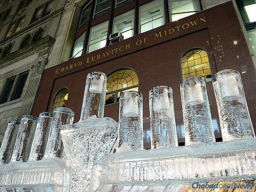 An ice menorah, standing solid in front of Chabad of Midtown Manhattan.