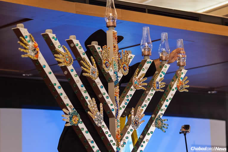 De'VIA (Deaf View and Image Art) menorah at the Museum of Jewish Heritage in Manhattan in 2014. (Photo credit: Boris Brenman)