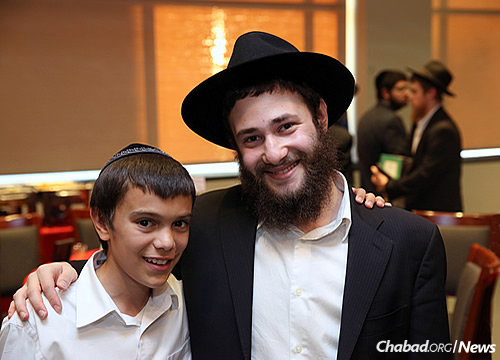 "Shneur Silverman, left, with ""Big Brother"" Shmuel Shputz (Photo: Courtesy of MyShliach)"