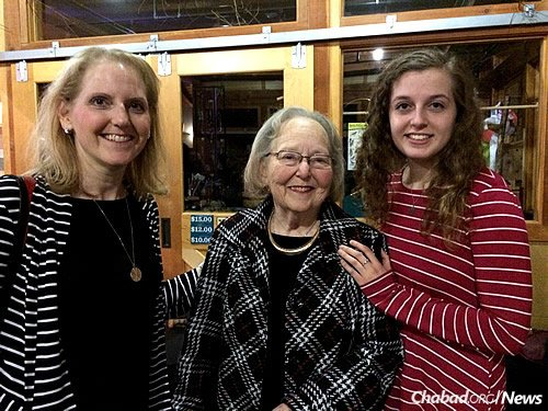 Three generations support the work of Friendship Circle, from left: Nancy Phillips, Anita Stone and Stephanie Phillips, who spoke at the event. (Photo: Liza Wiemer)