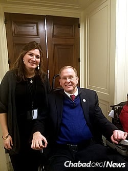 Dr. Sarah Kranz-Ciment, director of the Ruderman Chabad Inclusion Initiative, with Jim Langevin of Rhode Island